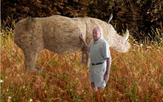 Гигантский Носорог из Винных Пробок