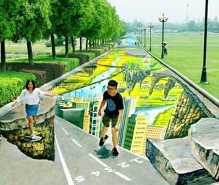 Самый Большой и Самый Длинный в Мире 3D Уличный Рисунок