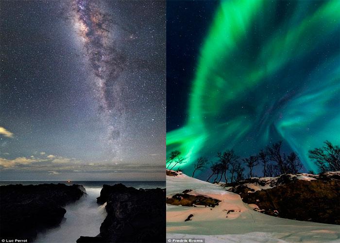 Млечный Путь над Островом Реюньон в Индийском Океане слева а  на правом, изображен вид Северной Норвегии