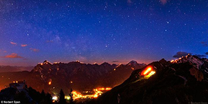 День летнего солнцестояния, фестиваль огня, Тироль в Австрии